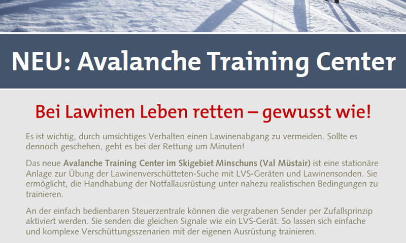 NEU: Avalanche Training Center in Minschuns